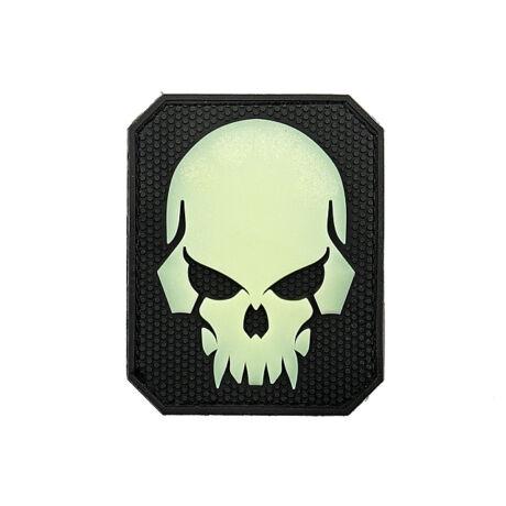 Pirateskull tépőzáras PVC Felvarró Foszforeszkáló