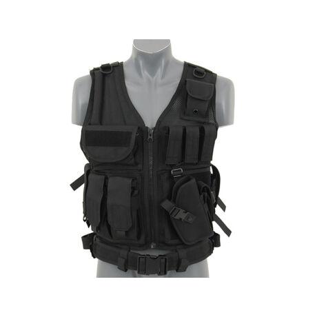 SWAT taktikai airsoft mellény fekete