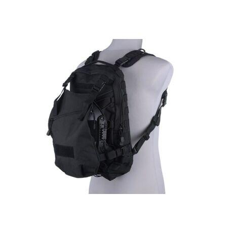 EDC airsoft, taktikai hátizsák hátlappal fekete